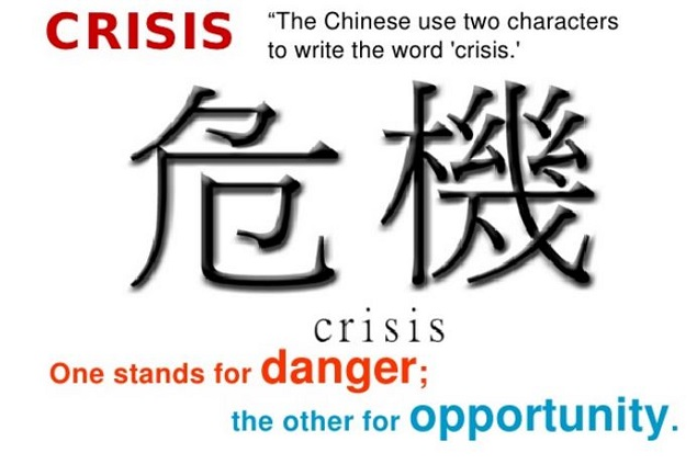 Chinese character for Crisis- Danger + Opportunity